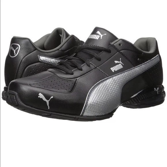 b91b8f90c0a889 PUMA Mens Cell Surin 2 Black Silver Running Shoes